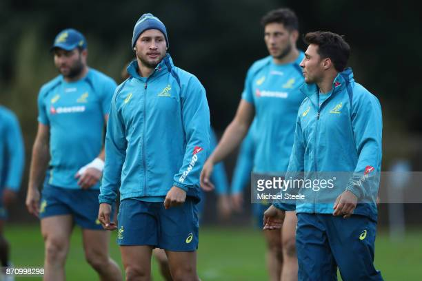 Billy Meakes alongside Nick Phipps during the Australia rugby training session at Sport Wales on November 6 2017 in Cardiff Wales
