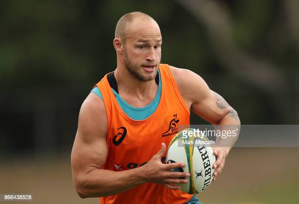 Billy Meakes in action during the Australian Wallabies training session at Leichhardt Oval on October 26 2017 in Sydney Australia
