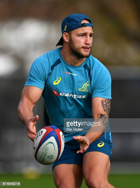 Billy Meakes of Australia releases a pass during a training session at the Lensbury Hotel on November 16 2017 in London England