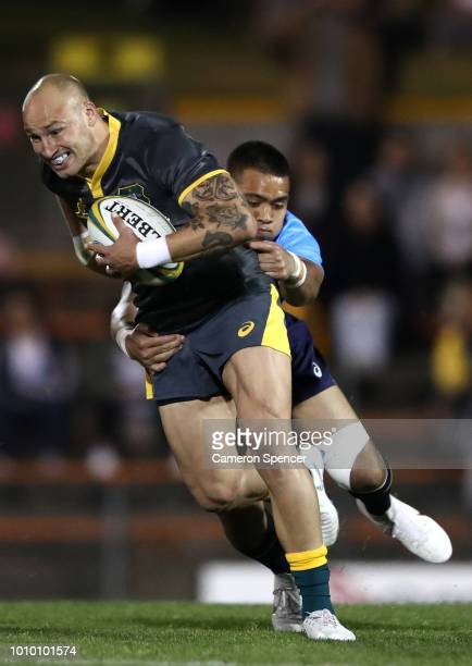 Billy Meakes of Cheika's Choice is tackled during the Wallabies Internal trial match between Cheika's Choice and the Australian Super Selection at...