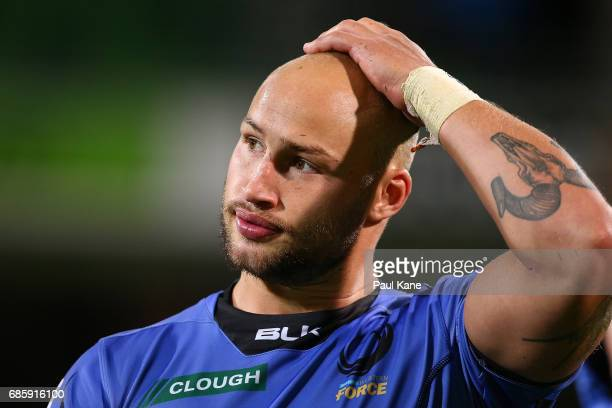 Billy Meakes of the Force looks on after being defeated during the round 13 Super Rugby match between the Force and the Highlanders at nib Stadium on...