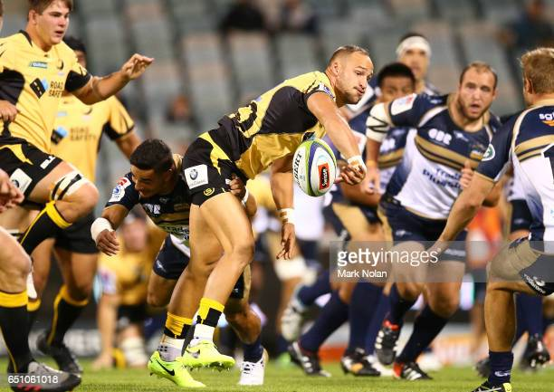 Billy Meakes of the Force offloads during the round three Super Rugby match between the Brumbies and the Force at GIO Stadium on March 10 2017 in...
