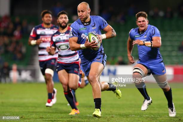 Billy Meakes of the Force runs in for a try during the round 16 Super Rugby match between the Force and the Rebels at nib Stadium on July 7 2017 in...