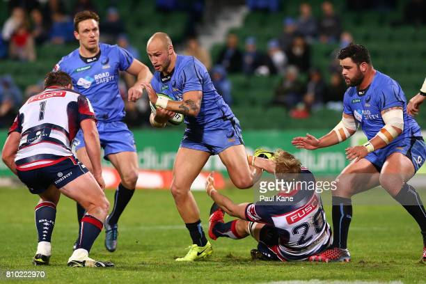 Billy Meakes of the Force runs the ball during the round 16 Super Rugby match between the Force and the Rebels at nib Stadium on July 7 2017 in Perth...