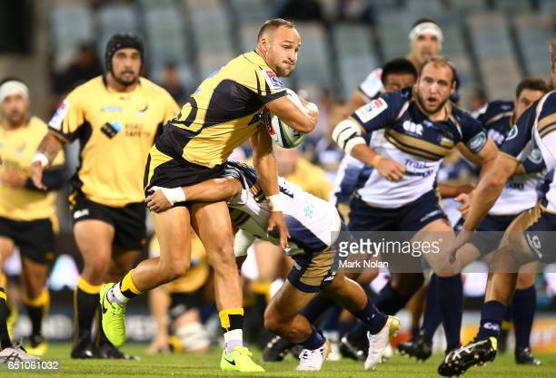Billy Meakes of the Force runs the ball during the round three Super Rugby match between the Brumbies and the Force at GIO Stadium on March 10 2017...