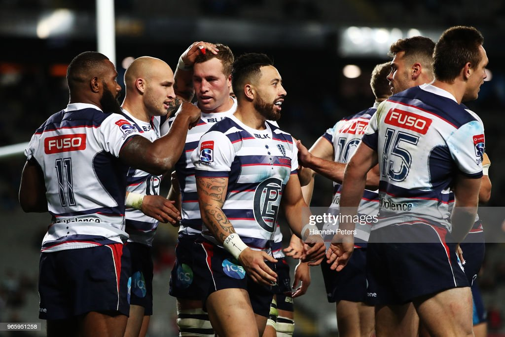 Billy Meakes of the Rebels celebrates after scoring a try during the round 16 Super Rugby match between the Blues and the Rebels at Eden Park on June 2, 2018 in Auckland, New Zealand.