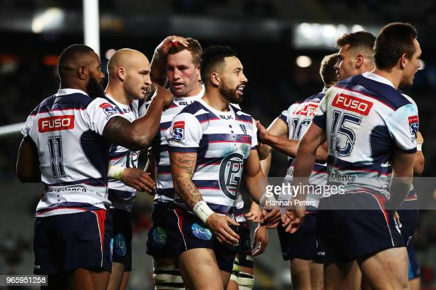 Billy Meakes of the Rebels celebrates after scoring a try during the round 16 Super Rugby match between the Blues and the Rebels at Eden Park on June...