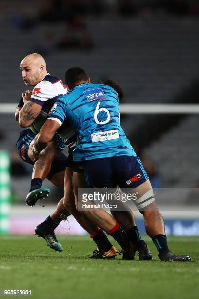 Billy Meakes of the Rebels charges forward during the round 16 Super Rugby match between the Blues and the Rebels at Eden Park on June 2 2018 in...