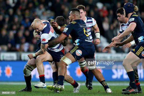 Billy Meakes of the Rebels charges forward during the round 19 Super Rugby match between the Highlanders and the Rebels at Forsyth Barr Stadium on...