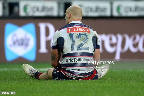 Billy Meakes of the Rebels looks dejected after their defeat to the Highlanders during the round 19 Super Rugby match between the Highlanders and the...