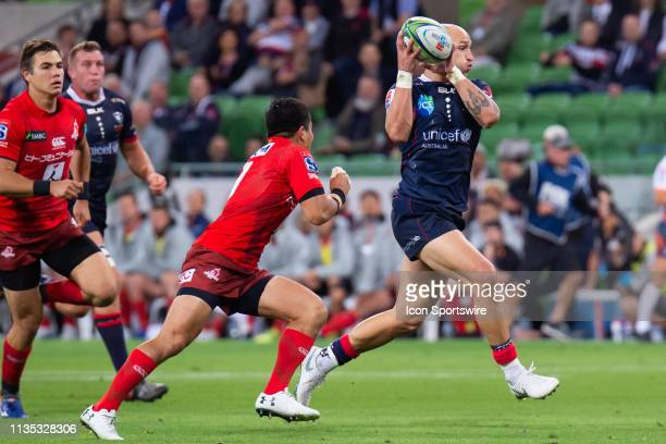 Billy Meakes of the Rebels makes an attempt to run the ball at round 8 of The Super Rugby match between Melbourne Rebels and Sunwolves on April 06,...