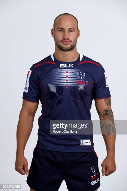 Billy Meakes of the Rebels poses during the Melbourne Rebels Super Rugby headshots session at AAMI Park on January 17 2018 in Melbourne Australia