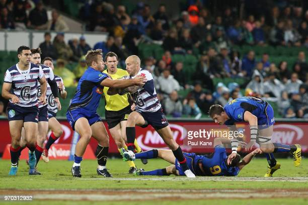 Billy Meakes of the Rebels runs the ball during the World Series Rugby match between the Force and the Rebels at nib Stadium on June 9 2018 in Perth...