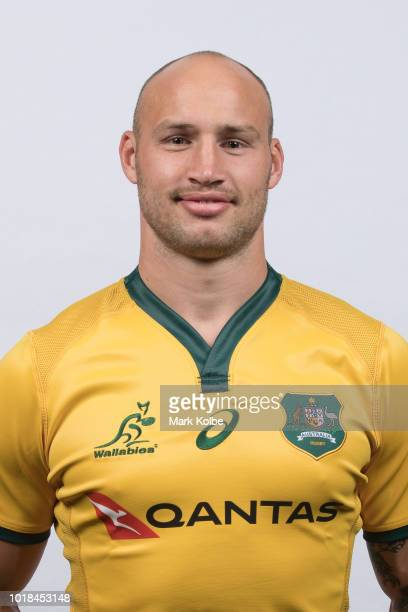 Billy Meakes poses during the Australian Wallabies Bledisloe Cup squad headshot session on August 5 2018 in Cessnock Australia