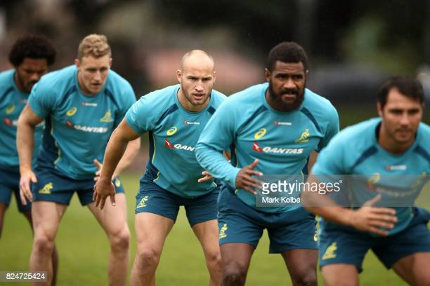 Billy Meakes prepares for a sprint in a drill during an Australian Wallabies training session at Bus Loop Oval on July 31 2017 in Sydney Australia