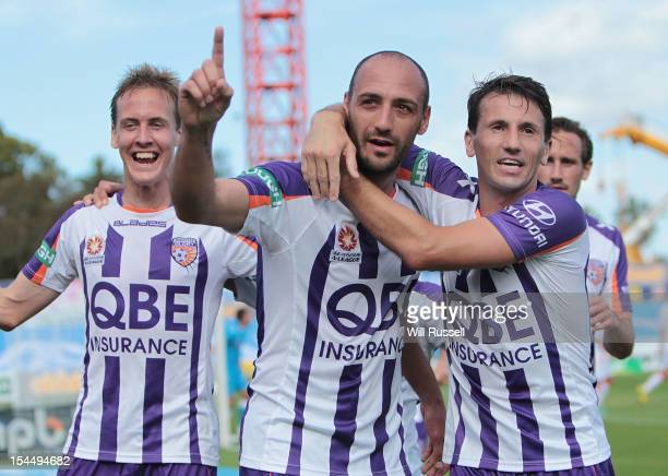 Billy Mehmet of the Glory celebrates after scoring a goal during the round three ALeague match between Perth Glory and the Melbourne Heart at nib...