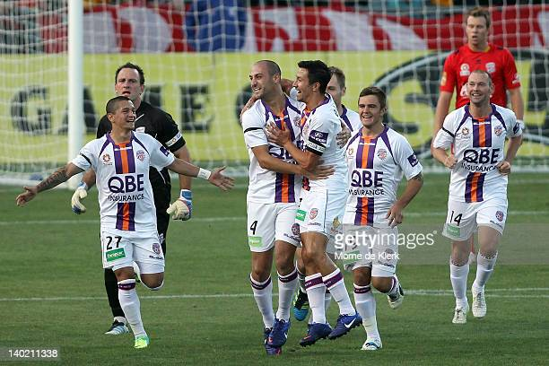 Billy Mehmet of the Glory celebrates with team mates after scoring a goal during the round 22 ALeague match between Adelaide United and Perth Glory...