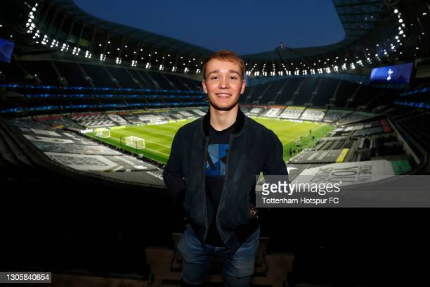 Billy Monger, British Racing Driver poses for a photograph inside the stadium as he attends as a special guest prior to the Premier League match...