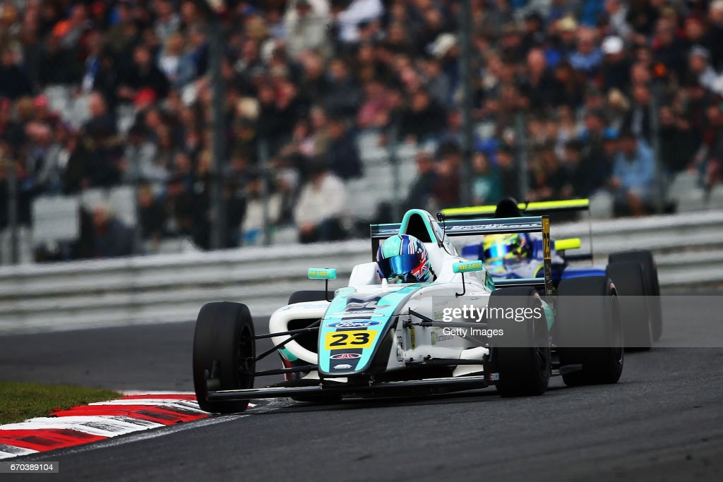 Billy Monger of JHR Developmennts drives during the F4 British Championship at Brands Hatch on April 2, 2017 in Longfield, England.