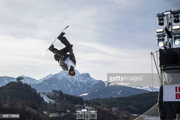 Billy Morgan from Great Britain jumps during Air and Style Festival February 6 2016 in Innsbruck Austria