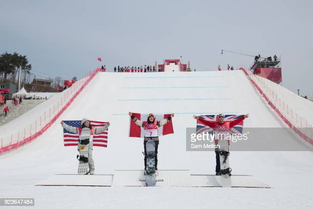 Billy Morgan Great Britain BRONZE with Sebastien Toutant Canada GOLD and Kyle Mack USA SILVER at the men's snowboard big air flower ceremony at the...