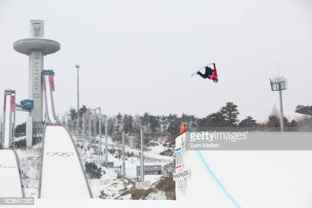 Billy Morgan Great Britain during the men's snowboard big air final at the Pyeongchang 2018 Winter Olympics on 24th February 2018 at the Alpensia Ski...