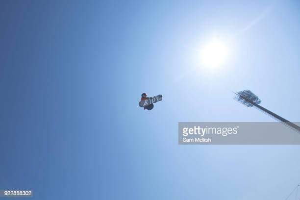 Billy Morgan Great Britain during the men's snowboard big air practice at the Pyeongchang 2018 Winter Olympics on 22nd February 2018 at the Alpensia...