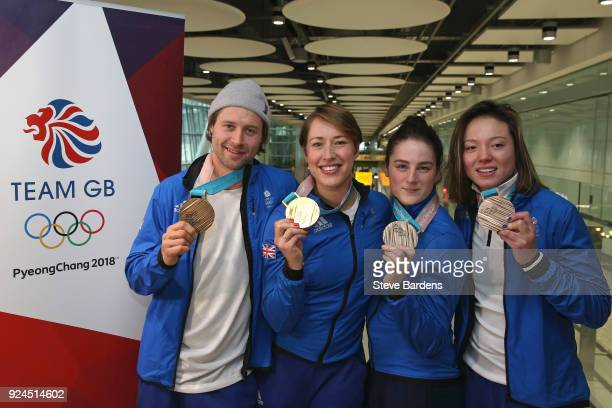 Billy Morgan Lizzy Yarnold Laura Deas and Isabel Atkin of Great Britain pose with their Olympic medals during the Team GB Homecoming from the Winter...