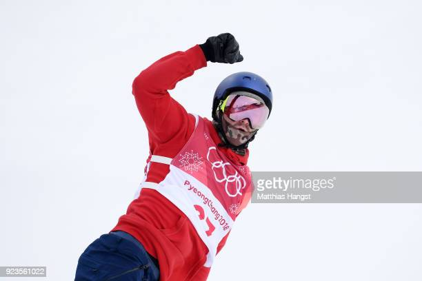 Billy Morgan of Great Britain celebrates after his run during the Men's Big Air Final Run 2 on day 15 of the PyeongChang 2018 Winter Olympic Games at...