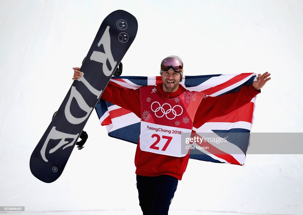 Billy Morgan of Great Britain celebrates as he wins a bronze medal at the Mens Big Air Final at Alpensia Ski Jumping Centre on February 24, 2018 in Pyeongchang-gun, South Korea.