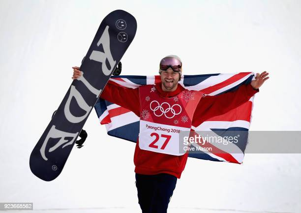Billy Morgan of Great Britain celebrates as he wins a bronze medal at the Mens Big Air Final at Alpensia Ski Jumping Centre on February 24 2018 in...