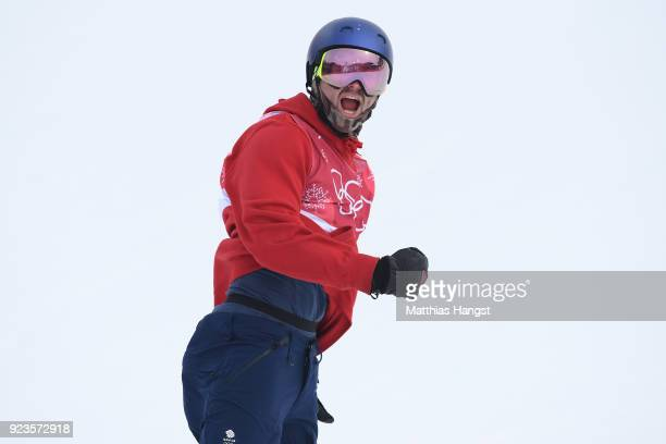 Billy Morgan of Great Britain celebrates during the Men's Big Air Final on day 15 of the PyeongChang 2018 Winter Olympic Games at Alpensia Ski...
