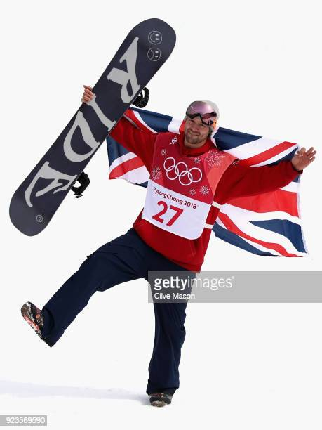 Billy Morgan of Great Britain celebrates winning the bronze medal during the Men's Big Air Final on day 15 of the PyeongChang 2018 Winter Olympic...