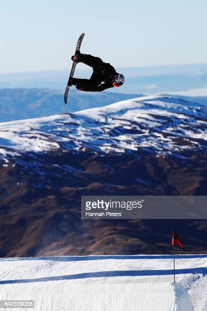 Billy Morgan of Great Britain comeptes during Winter Games NZ FIS Men's Snowboard World Cup Slopestyle Finals at Cardrona Alpine Resort on September...