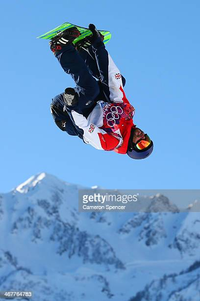 Billy Morgan of Great Britain competes during the Snowboard Men's Slopestyle Semifinals during day 1 of the Sochi 2014 Winter Olympics at Rosa Khutor...