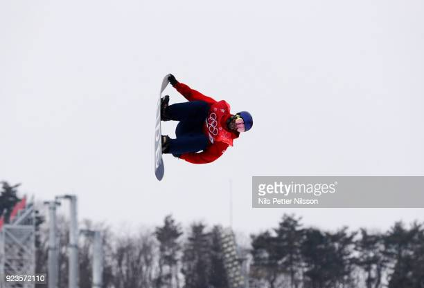 Billy Morgan of Great Britain during the Snowboard Mens Big Air Finals at Alpensia Ski Jumping Centre on February 24 2018 in Pyeongchanggun South...