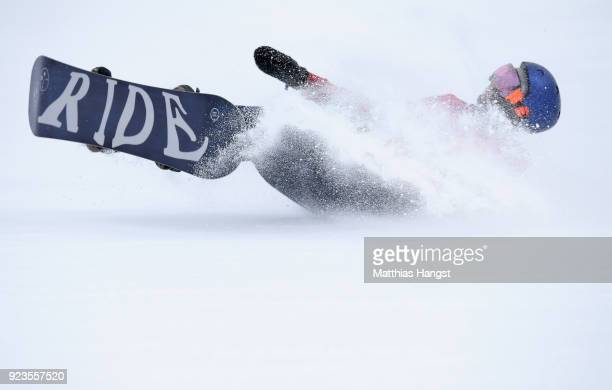 Billy Morgan of Great Britain falls on his landing during the Men's Big Air Final Run 1 on day 15 of the PyeongChang 2018 Winter Olympic Games at...
