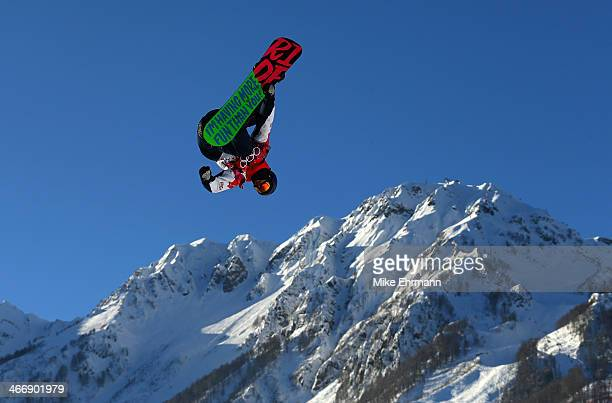 Billy Morgan of Great Britain practices during training for Snowboard Slopestyle at the Extreme Park at Rosa Khutor Mountain on February 5 2014 in...