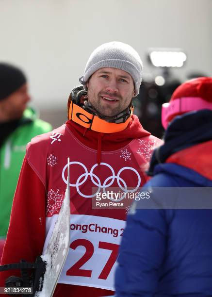 Billy Morgan of Great Britain reacts after his run during the Men's Big Air Qualification on day 12 of the PyeongChang 2018 Winter Olympic Games at...