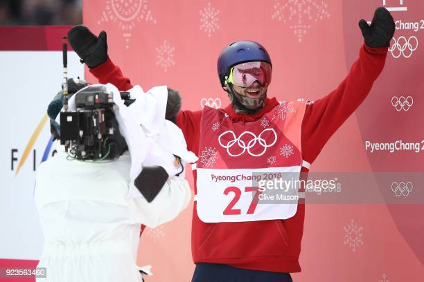 Billy Morgan of Great Britain reacts during the Men's Big Air Final on day 15 of the PyeongChang 2018 Winter Olympic Games at Alpensia Ski Jumping...