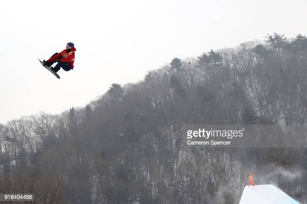 Billy Morgan of Great Britain trains ahead of the Men's Slopestyle qualification on day one of the PyeongChang 2018 Winter Olympic Games at Phoenix...