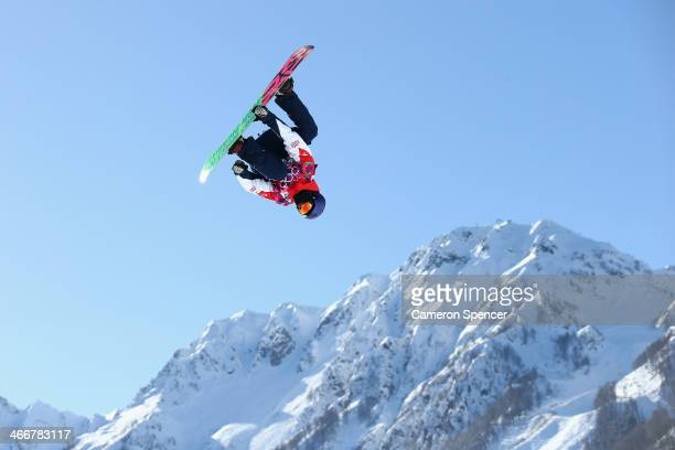 Billy Morgan of Great Britain trains during Snowboard Slopestyle practice at the Extreme Park at Rosa Khutor Mountain ahead of the Sochi 2014 Winter...