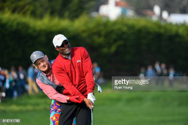 Billy Murray and Darrius Rucker joke around during the third round of the ATT Pebble Beach ProAm at Pebble Beach Golf Links on February 10 2018 in...