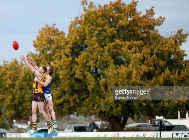 Billy Myers of Williamstown spoils Dallas Willsmore of Box Hill during the round 12 VFL match between Box Hill and Williamstown at Box Hill City Oval...