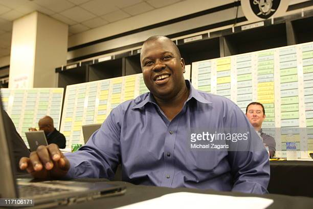 Billy Owens director of personnel for the Oakland Athletics looks on during the Major League Baseball Draft at the OaklandAlameda County Coliseum on...