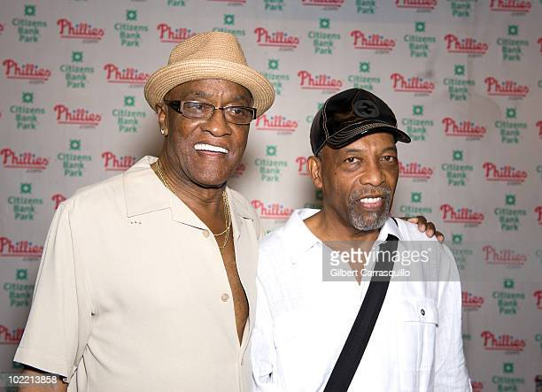 Billy Paul and Leon Huff attend the 2010 Phillies Sound of Philadelphia Celebration at Citizens Bank Park on June 18 2010 in Philadelphia Pennsylvania
