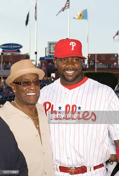 Billy Paul and Ryan Howard attend the 2010 Phillies Sound of Philadelphia Celebration at Citizens Bank Park on June 18 2010 in Philadelphia...