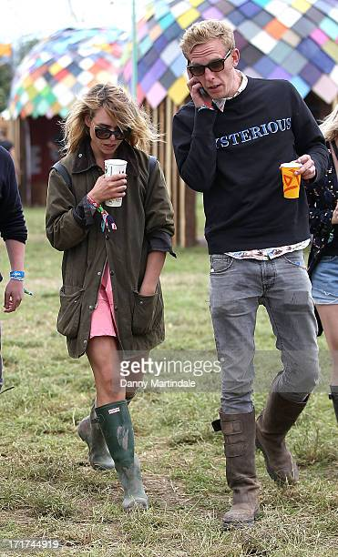 Billy Pipper and Laurence Fox attends day 2 of the 2013 Glastonbury Festival at Worthy Farm on June 28 2013 in Glastonbury England