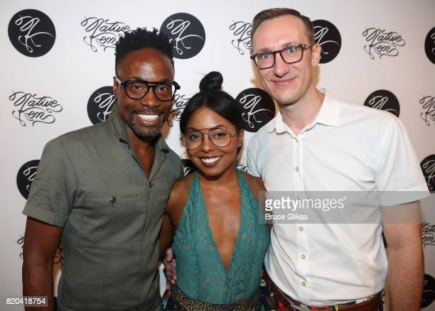 Billy Porter Adrienne Warren and Adam Porter Smith pose at the Native Ken Eyewear NYC Launch Party at Native Ken on July 20 2017 in New York City