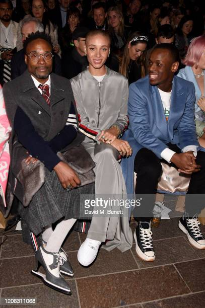 Billy Porter Adwoa Aboah and Micheal Ward attend the Central Saint Martins MA Fashion Show during London Fashion Week February 2020 at Central Saint...